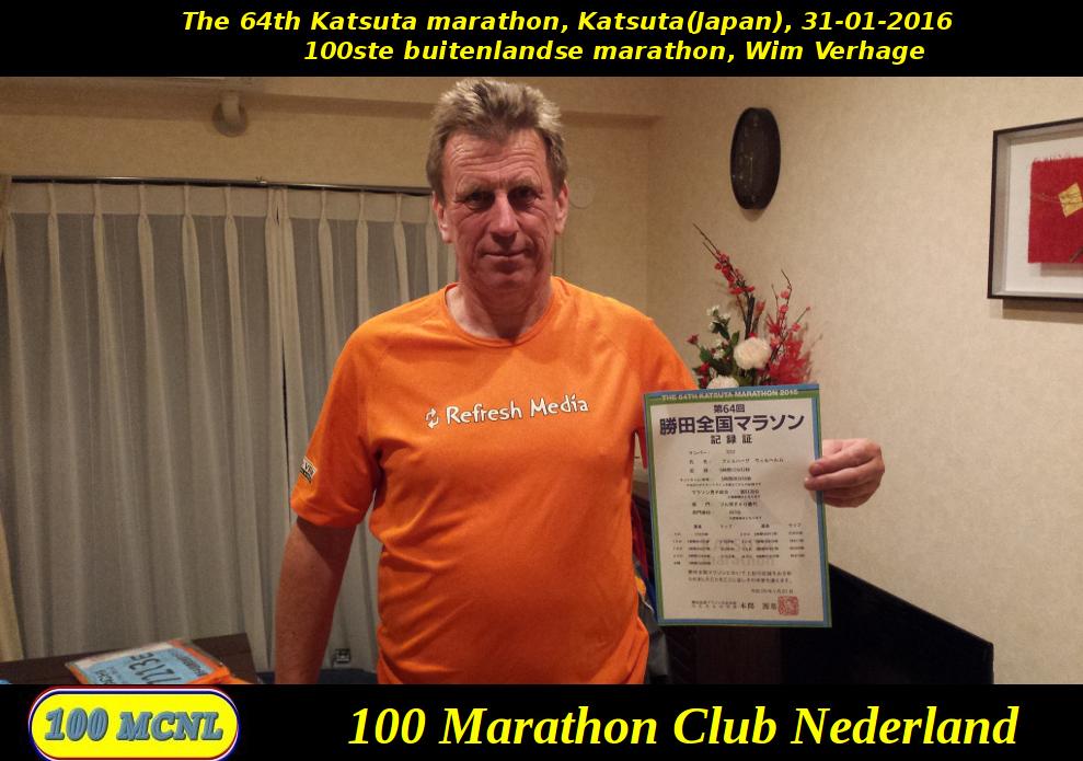 100ste buitenlandse marathon Wim Verhage